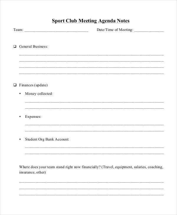 10+ Team Agenda Templates - Free Sample, Example Format Download ...