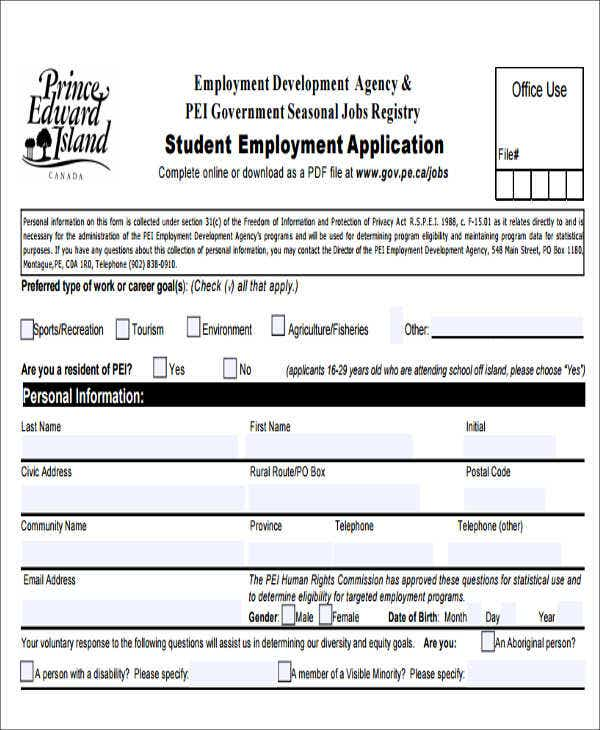 50 Job Application Form Templates – Sample Employment Application Form