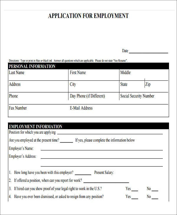 blank job application form in pdf