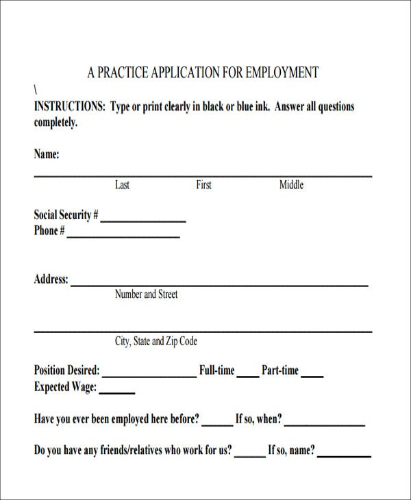 blank job application form printable