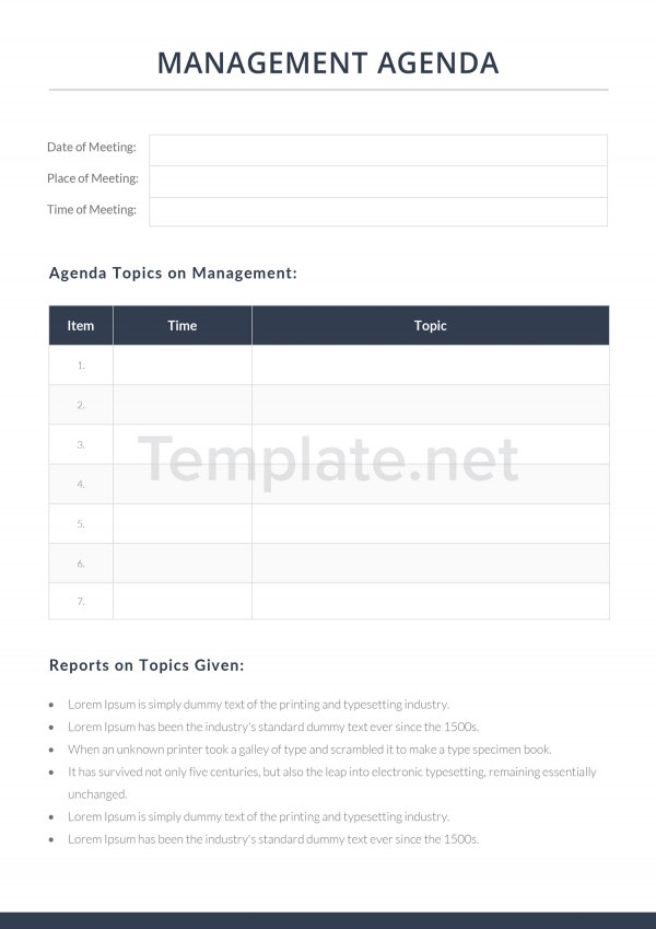 Safety Management Agenda Template