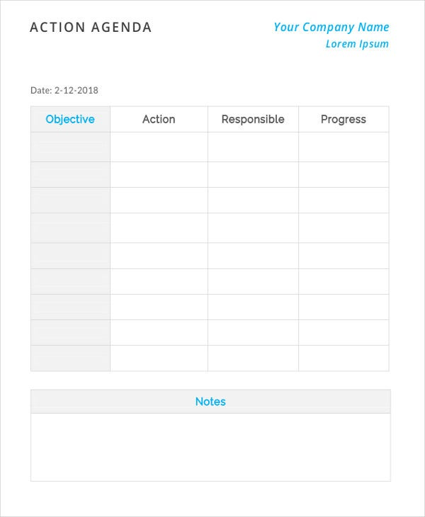 Action Agenda Template