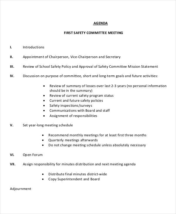 41 meeting agenda templates free premium templates for First board meeting agenda template