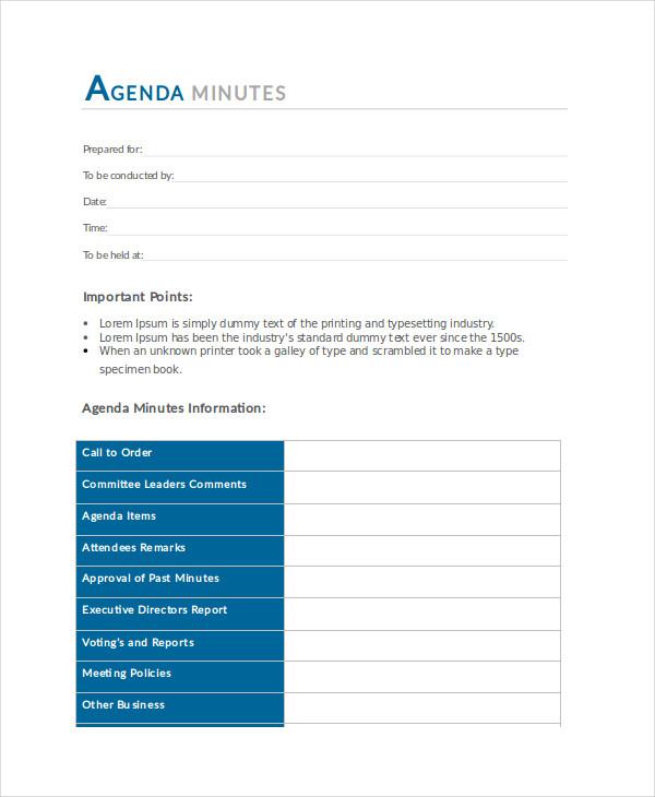 Agenda Minutes Template