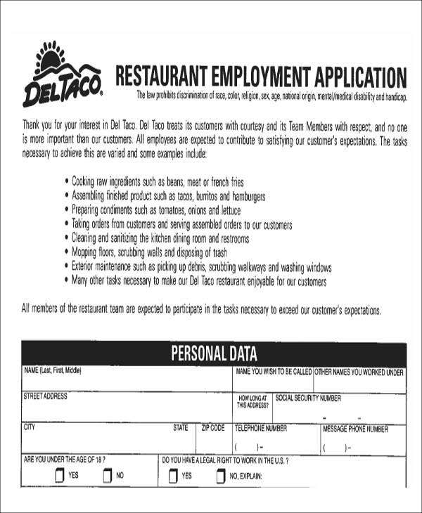 restaurant job application form in pdf