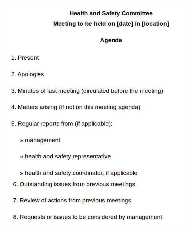 health and safety committee meeting agenda template