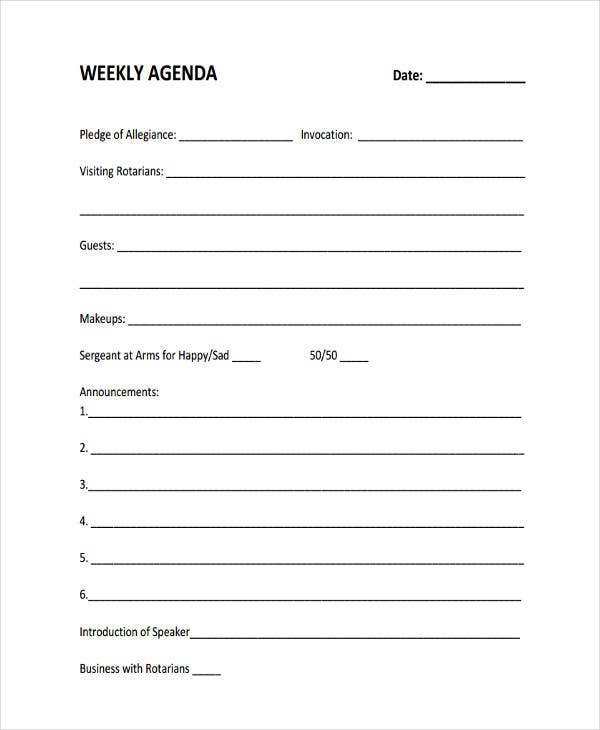 Blank Weekly Agenda