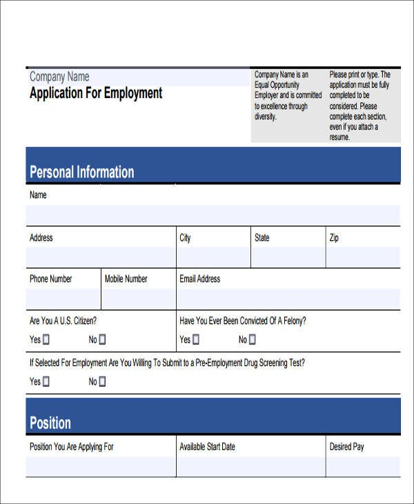 free generic job application form
