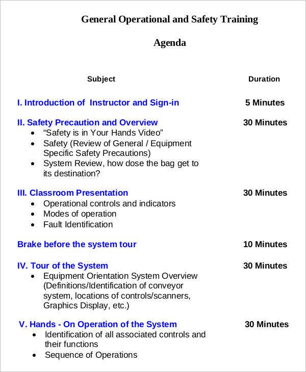 General Operational And Safety Training Agenda Template