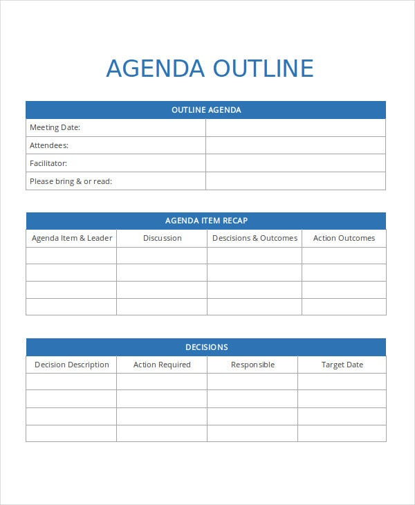 Agenda Outline Template