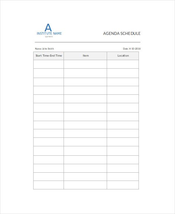 Agenda Schedule Template