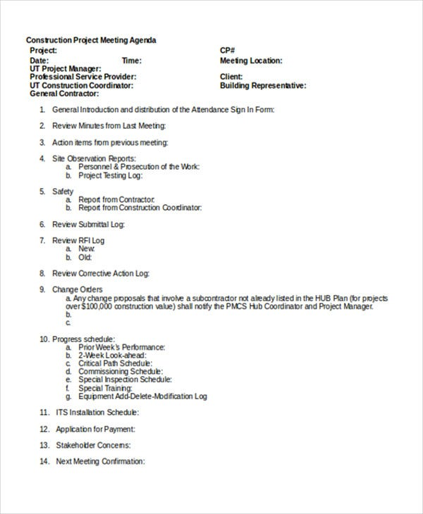 Construction Project Meeting Template