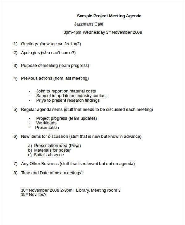 41 Meeting Agenda Templates – Research Agenda Sample