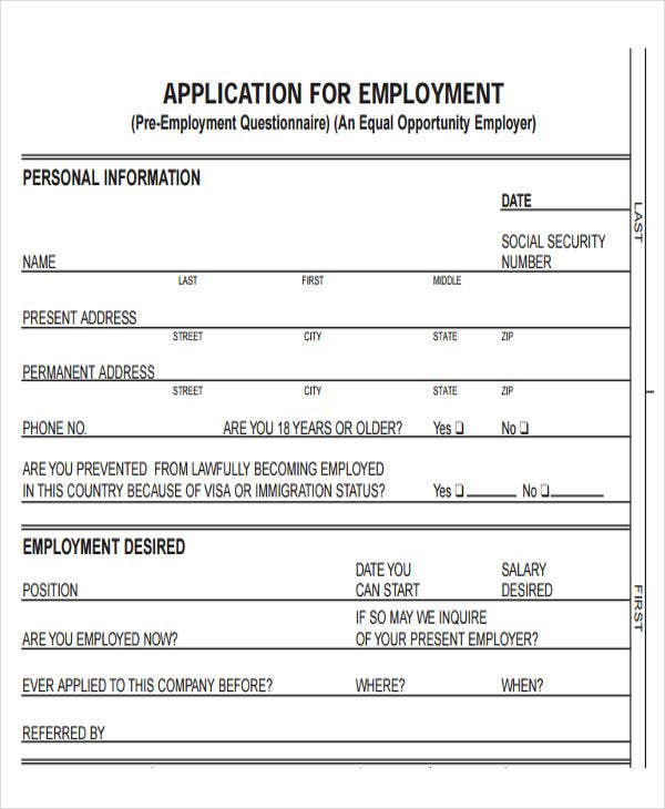 Blank Job Application Blank Job Applications For Hourly Employees