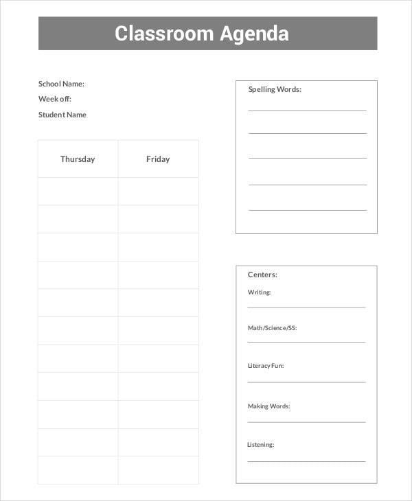 class room agenda template