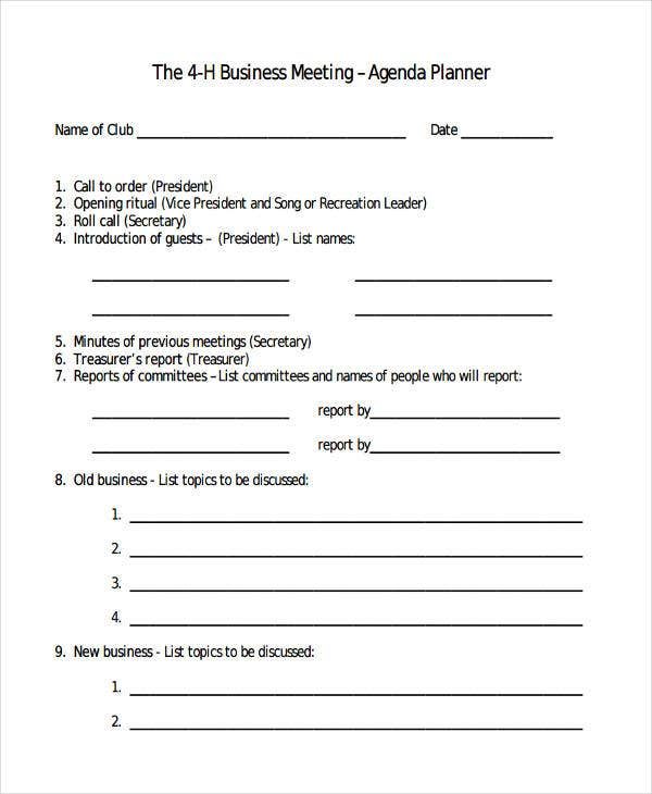 4-H Business Meeting Planner