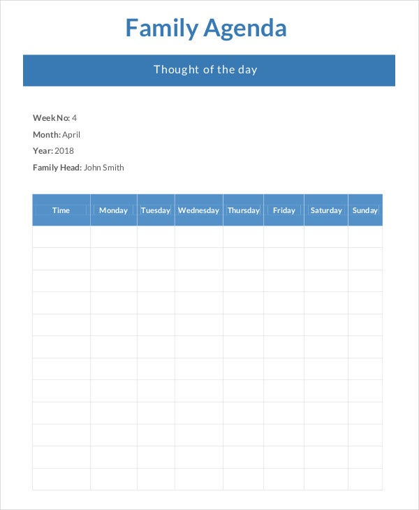 family agenda template