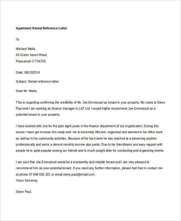 Rental Reference Letter Template  Free Word Pdf Format