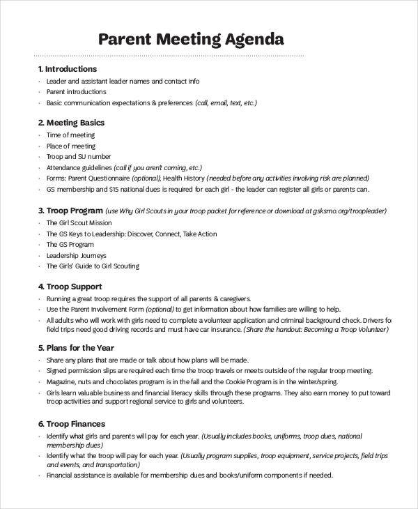 41 meeting agenda templates free premium templates for Parent teacher meeting report template