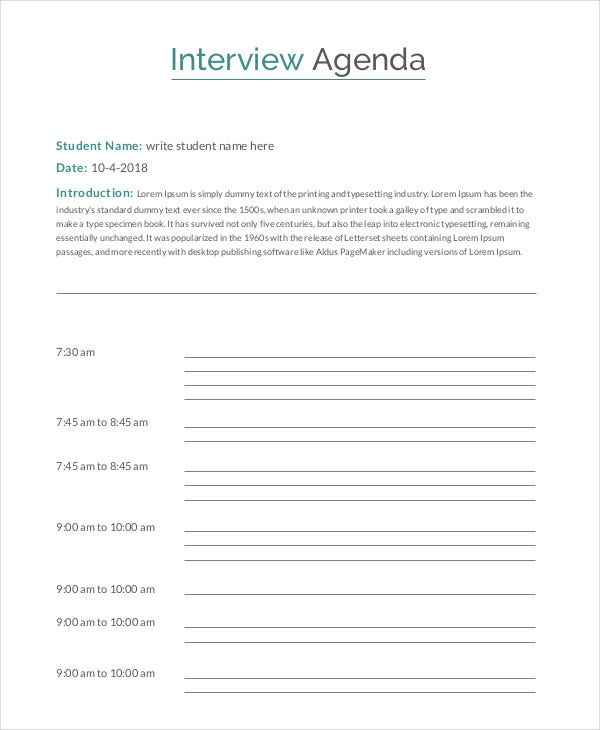 Interview Agenda Template