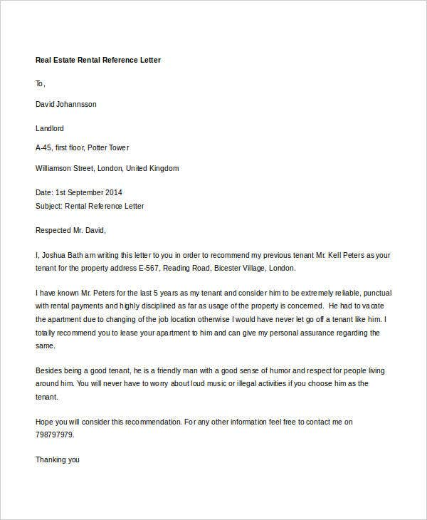 real estate rental reference letter