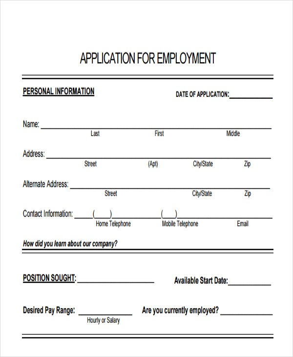 standard job application format