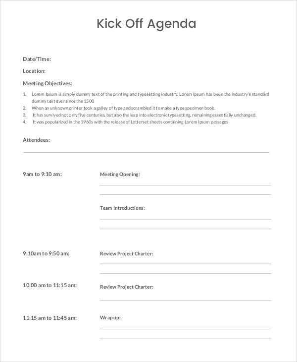 Sample Kick Off Agenda Template