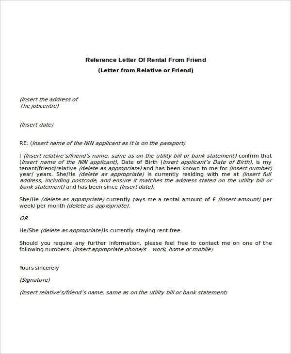 Rental Reference Letter Template  Free Word Pdf Format Downlaod