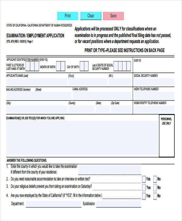 Printable Standard Job Application Form