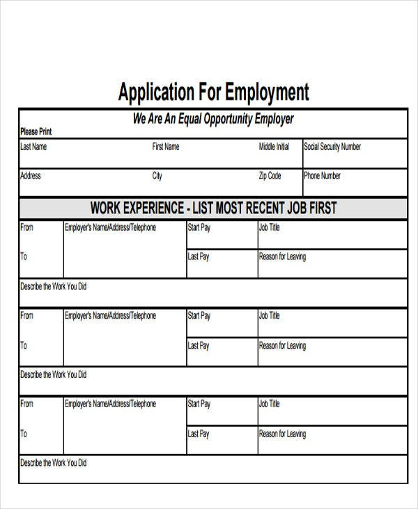 simple job application form in pdf