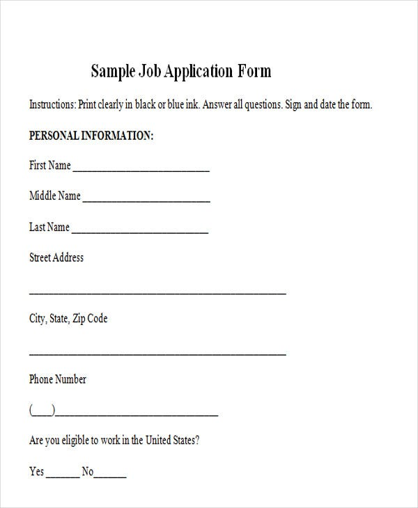 Simple Job Application Form Sample
