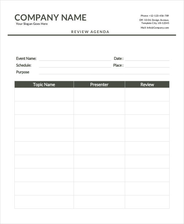Review Agenda Template