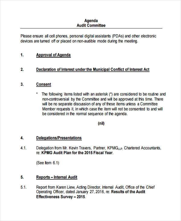 Sample Audit Committee