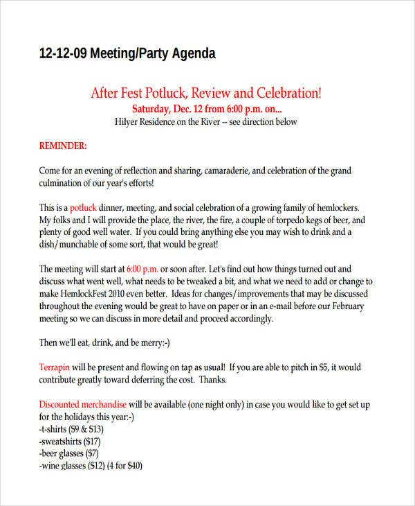 meeting party agenda