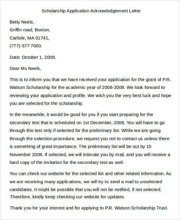 Scholarship Application Acknowledgement Letter