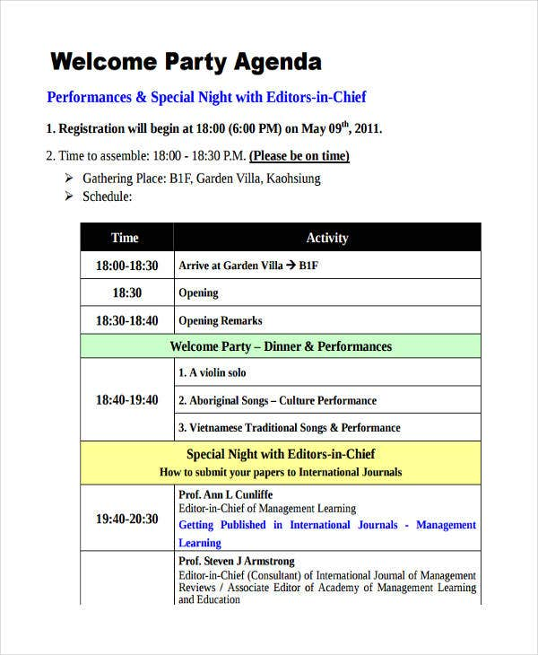 welcome party agenda