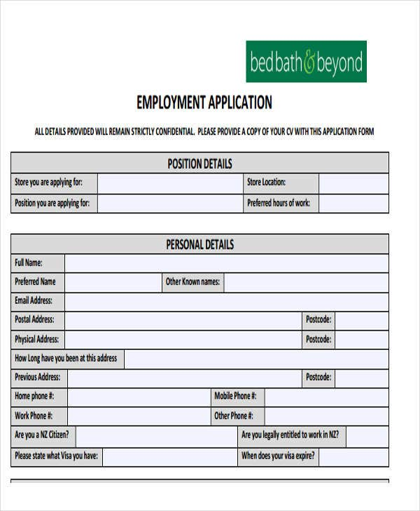 printable basic job application form