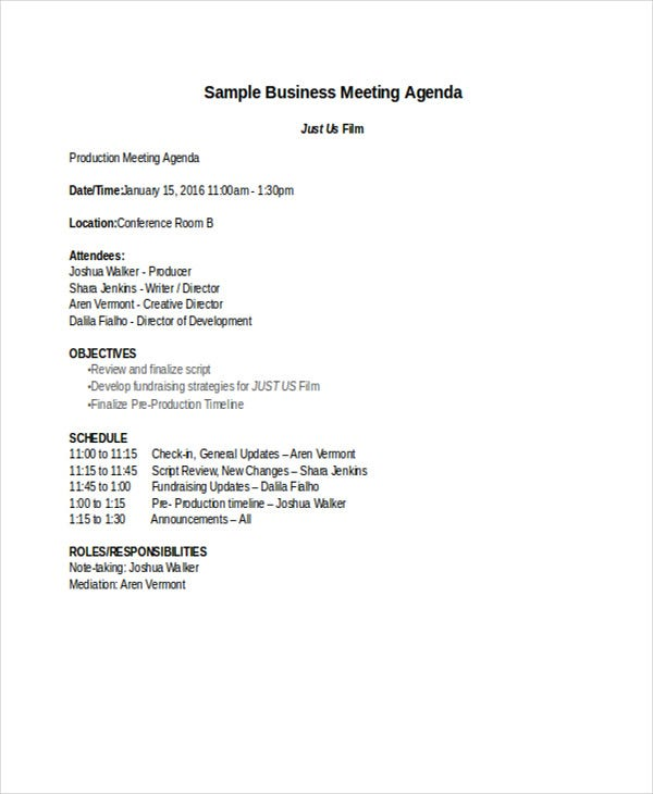 Sample Film Business Meeting