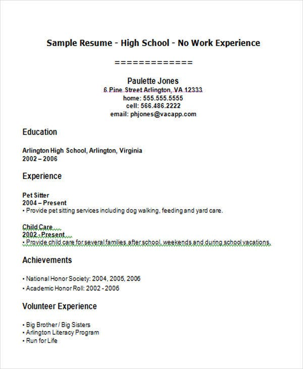 High School Student First Job Resume