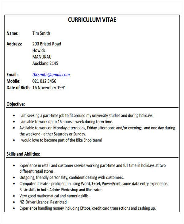 First Part Time Job Resume  Resume For Full Time Job