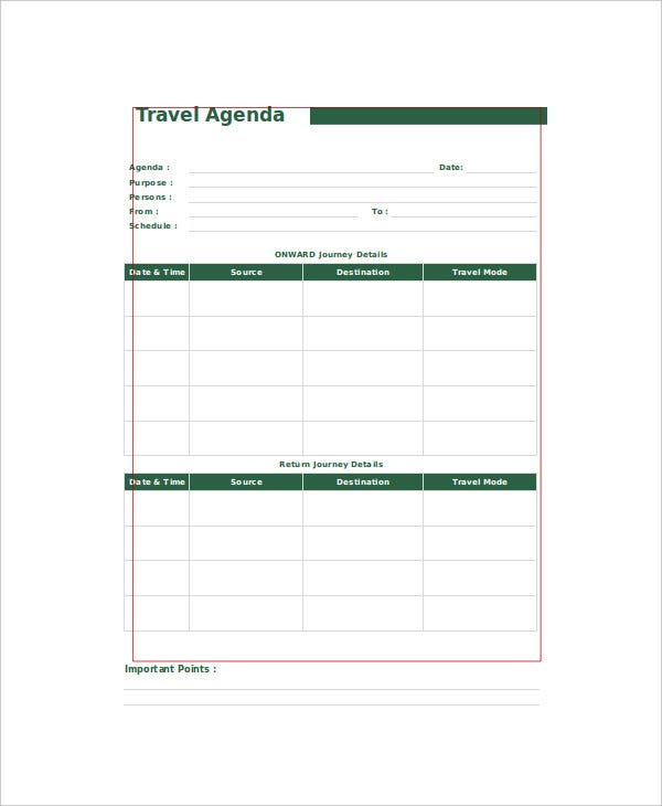 Travel Agenda Template