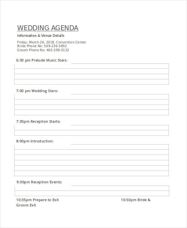 Wedding Agenda Template