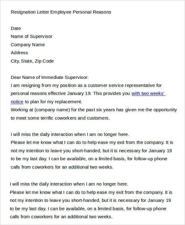 5 Sample Personal Resignation Letters Free Sample Example Format