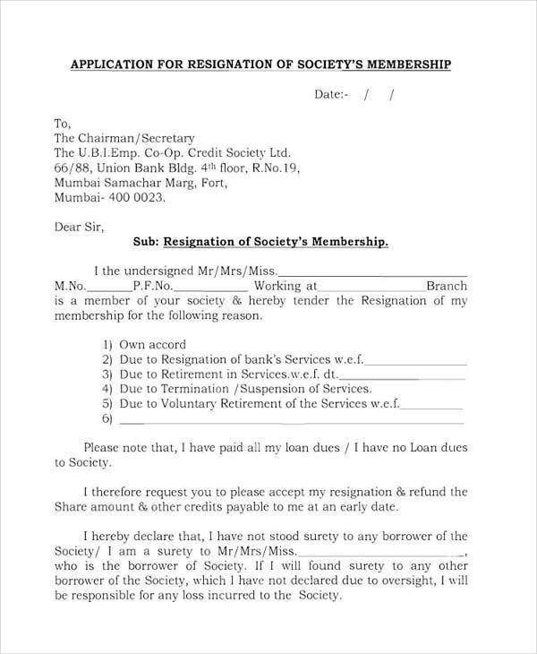 Society Membership Resignation Letter