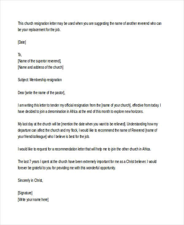 church resignation letter example