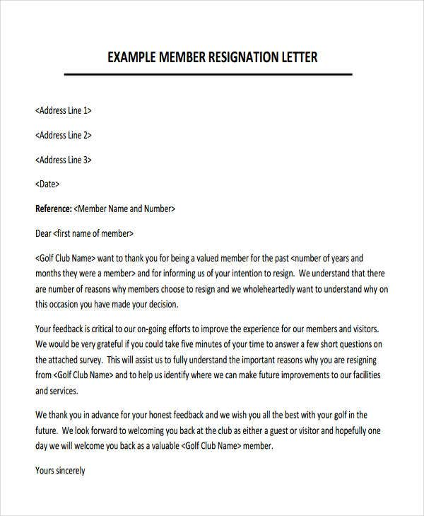 letter of resignation from a club - Selo.l-ink.co