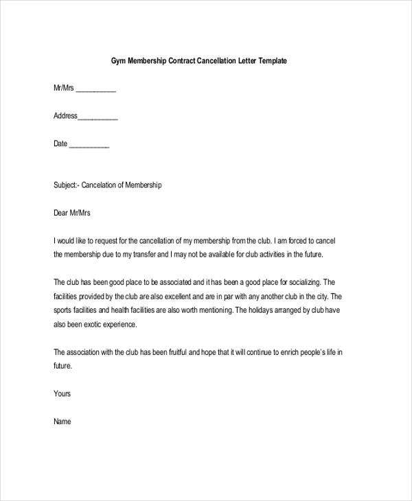 Membership resignation letters template 8 free word pdf format gym membership resignation letter spiritdancerdesigns Image collections