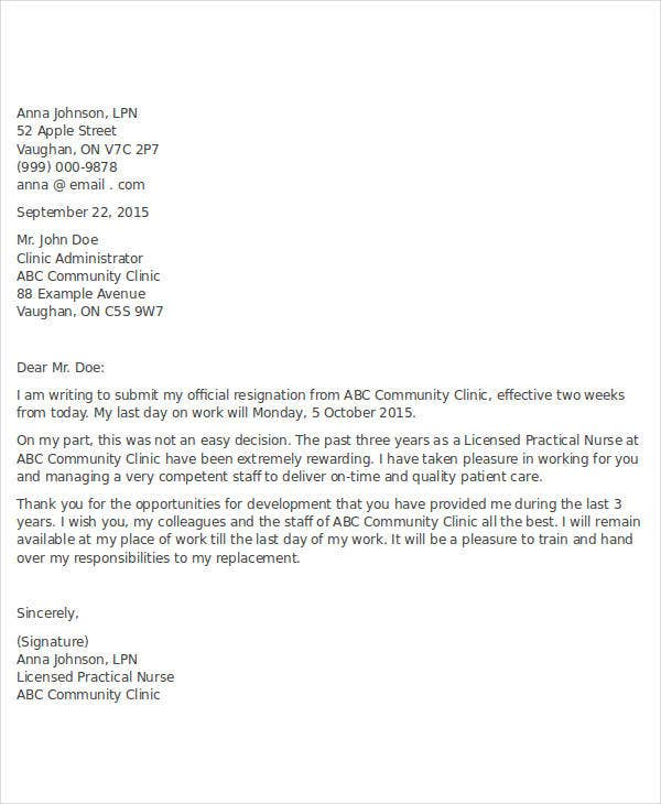 letter of resignation 2 weeks notice nurse 14 resignation letter templates word pdf free 23071 | Nurse 2 Week Notice Resignation Letter