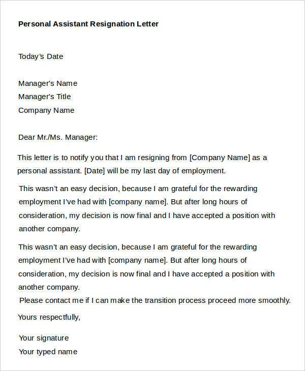 9  sample personal resignation letters