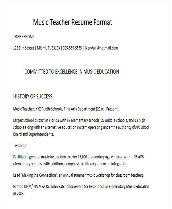 Music Teacher Resume Format. Workbloom.com  Music Education Resume